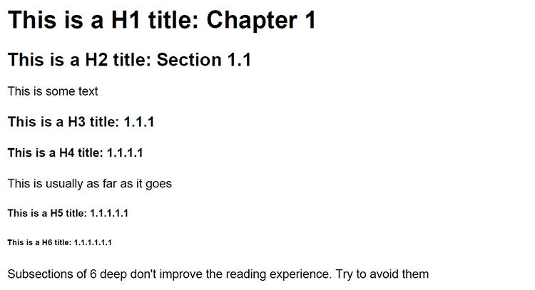 H1-to-H6 Headings
